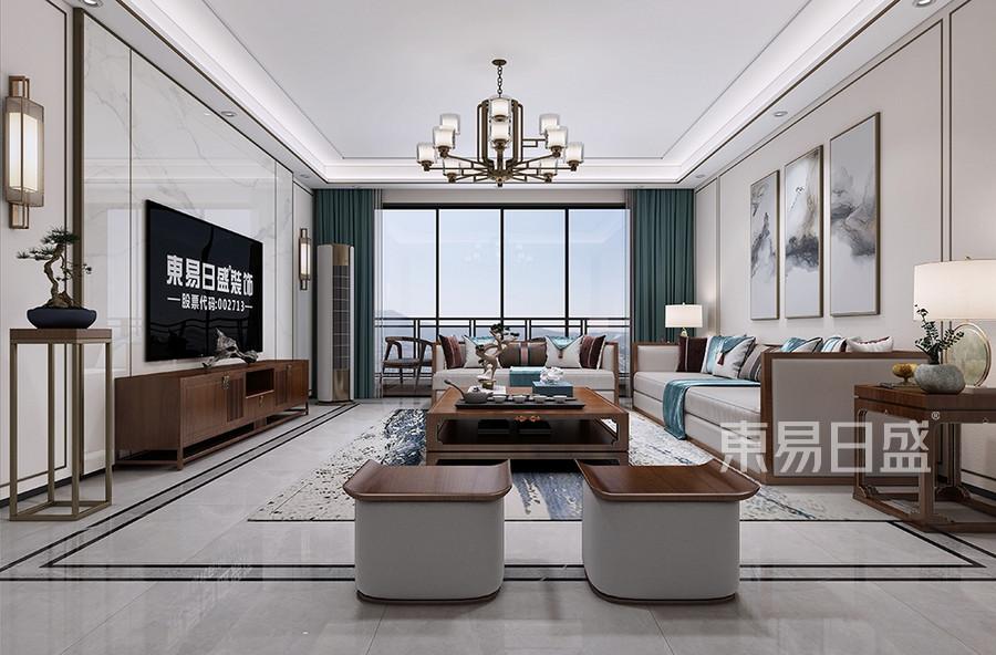 東城天驕御峰新中式客廳裝修效果圖