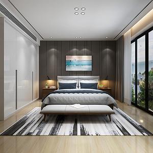 凤凰台风华宫四房新现代卧室装修效果图