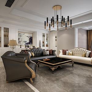 天鹅堡 现代美式风格装修效果图 四室两厅200㎡