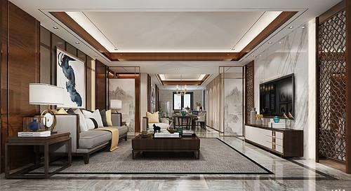 望湖西苑-150平米-新中式风格-两居室装修案例效果图