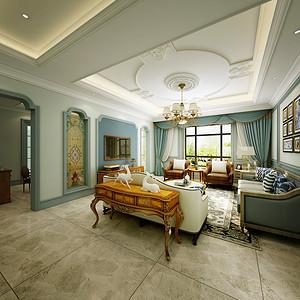 天朗蔚蓝观园 优雅美式装修效果图 185平米
