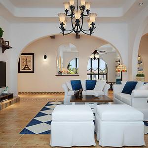 云锦梧桐 地中海风格 230平米 五房三厅 装修效果图