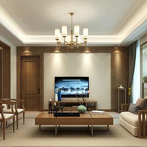 国宾壹号158平三室二厅新中式风格装修案例