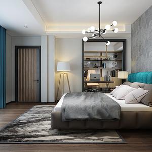 卧室角度效果图:色彩皆产生于光,在光线中,不仅使这些冷冰冰的家具家饰产生了温度,房间呈现出更明亮欢快