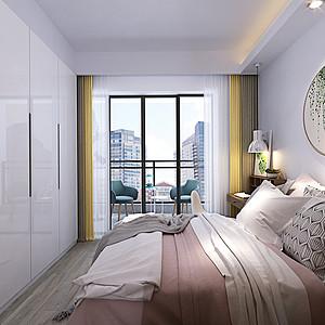 卧室墙面衣柜采用白色,使空间显得开阔