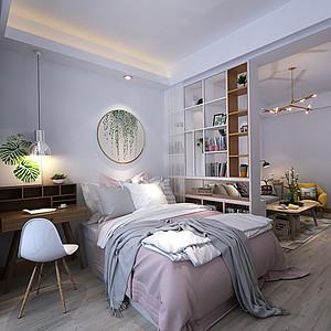 隔断既是书柜,也是卧室与客厅的隔墙