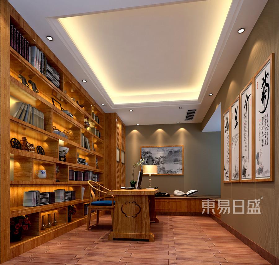 富春山居-书房装修效果图-新中式设计
