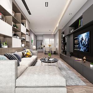 深业东岭 现代简约风格装修效果图 87平米 两居室装饰设计