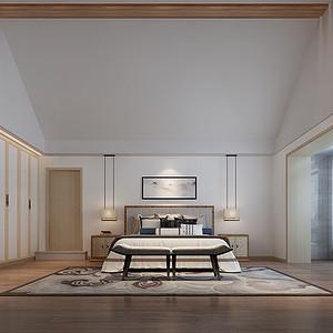 卧室:卧室给人的感觉就是删繁去奢,删去复杂的装饰追求简约自热的美