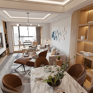 泰禾福州院子-现代简约-客厅、餐厅