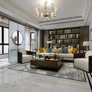 德贤公馆171平四室二厅新中式风格装修案例