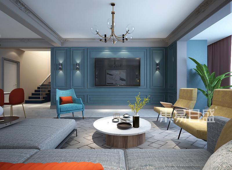 蓝色家装电视背景墙