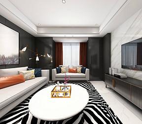 美林青城后现代风格客厅装修效果图