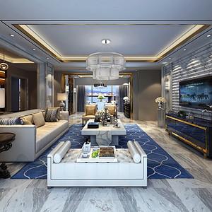 勤诚达22世纪 简欧风格装修效果图 154平米三室两厅装饰设计