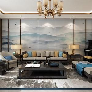 简中式-客厅沙发背景墙