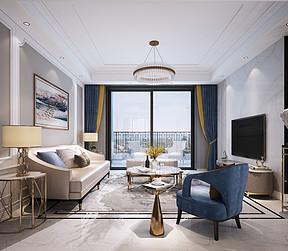 法式简约风格客厅装修效果图