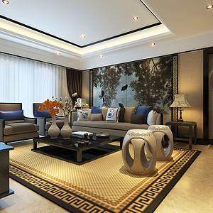 用中式家具、水墨画、回形纹等中式元素