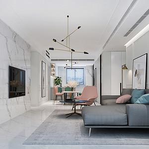万达one 现代北欧风格装修效果图 四室两厅 148平米
