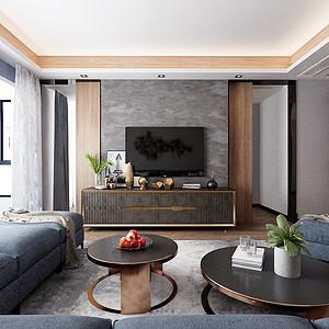紫晶未来城125m²现代轻奢风格装修客厅