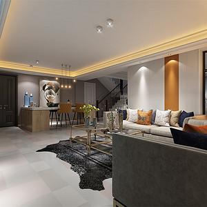 中海御山府253m²现代轻奢风格装修会客厅