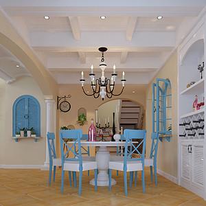 餐厅以干净清爽的蓝色白色家具搭配