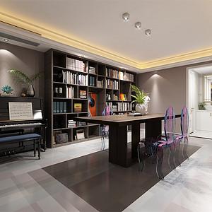 中海御山府253m²现代轻奢风格装修书房