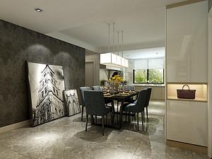 四居室-现代简约-餐厅-效果图