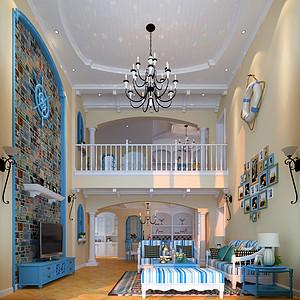 一楼客厅以地中海元素搭配