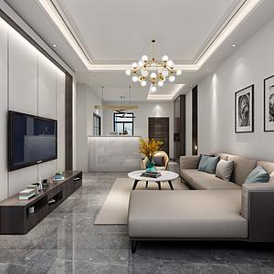 虎门海运轩装修案例-120㎡现代风格三房二厅装修效果图