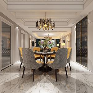 中海御山府253m²现代轻奢风格装修餐厅