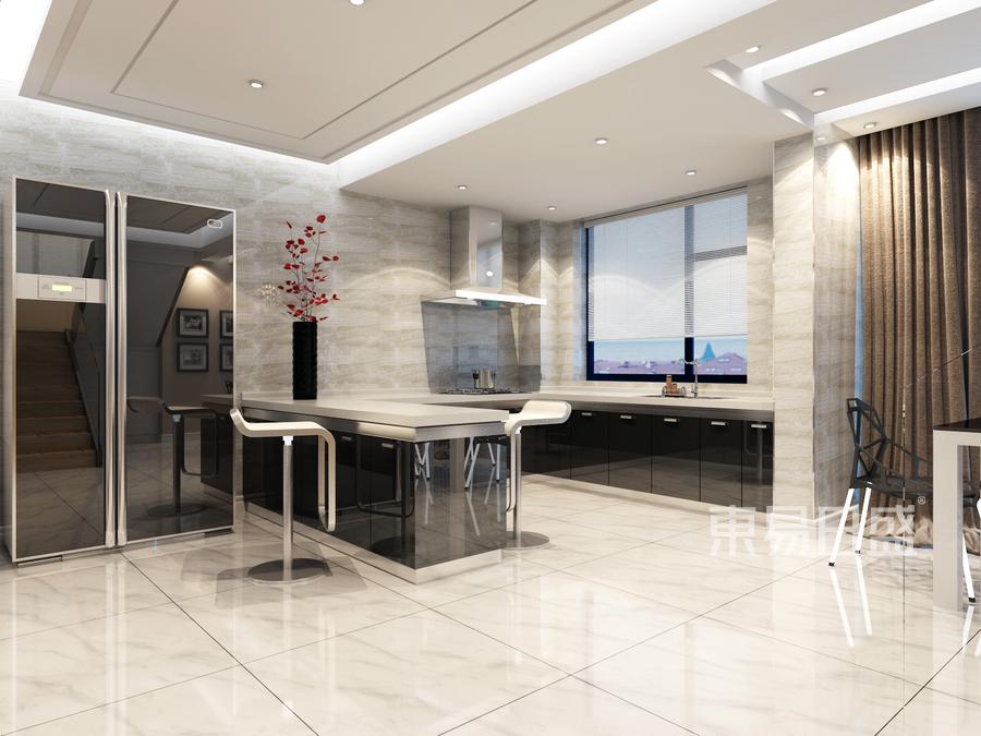 润恒御园-现代简约风格设计案例-厨房装修效果图