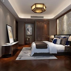 万达170平新中式风格四居主卧室