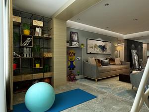 四居室-现代简约-健身区-效果图