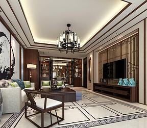 万达170平新中式风格四居客厅