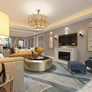 中海御山府253m²现代轻奢风格装修客餐厅