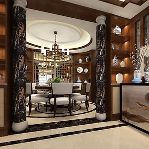 万达170平新中式风格四居餐厅