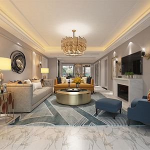 中海御山府253m²现代轻奢风格装修客厅