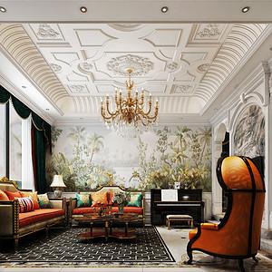 水木清华新古典主义客厅装修效果图
