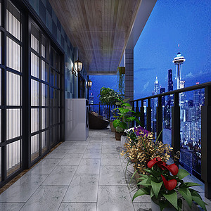 150㎡三居室地中海风格阳台效果图