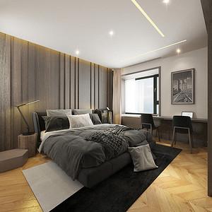 卧室:线条灯光和悬浮吊顶暗藏灯带的结合,加入适当功能性的射灯点光源,整个主卧舍弃主灯,通过丰富的反射