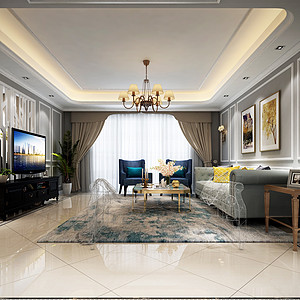 大朗巷头花园四房简美客厅装修效果图