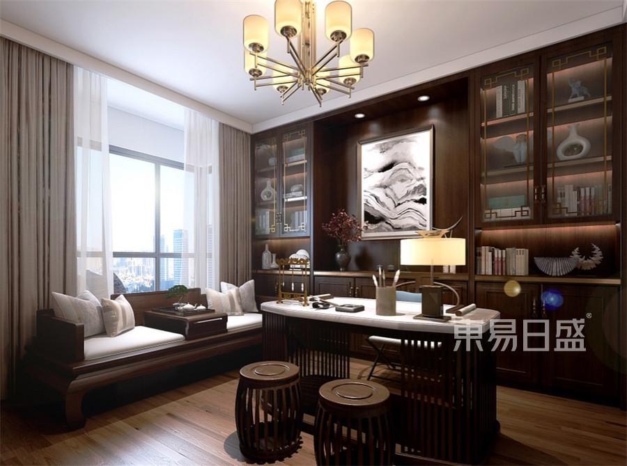 四居室-新中式-书房-效果图