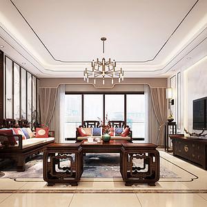 松山湖锦绣山河观园装饰案例-500㎡新中式风格复式家装效果图