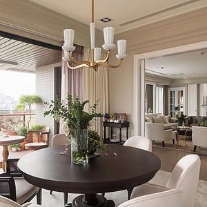 160㎡四居室简美风格书房效果图客餐