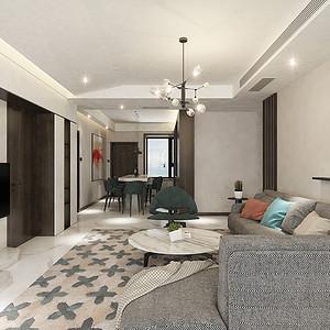 客厅四居室-现代简约-效果图