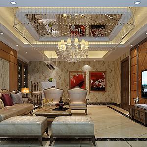 大岭山新世纪领居家装案例 500㎡新古典联排别墅装修效果图
