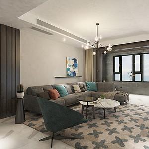 客厅:整体空间和阳台合并,通过吊顶材质和地面材质的连接,将空间最大化放大