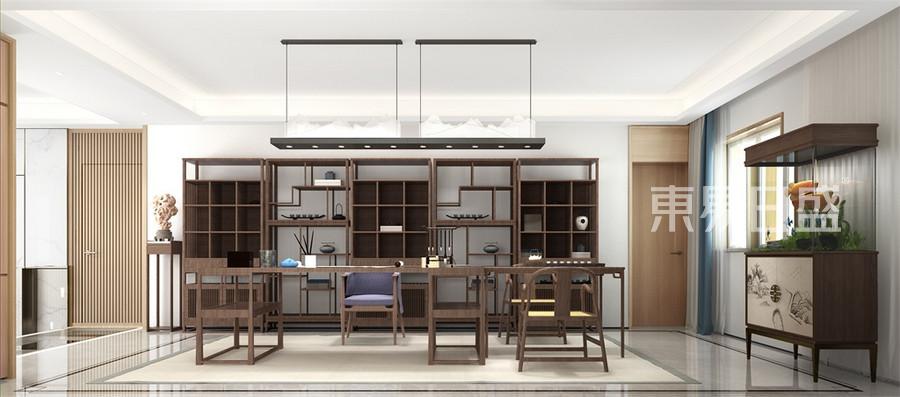 首开国风琅樾复式265平新中式书房茶吧装修效果图欣赏