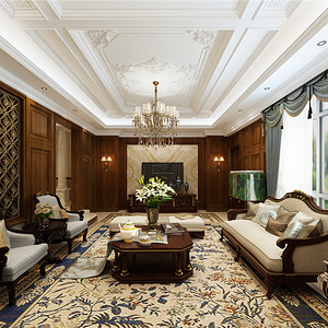 新新逸墅新古典主义客厅装修效果图