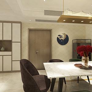 餐厅:餐厅部分和书房充分结合,开放式的书房的书桌和书柜的陈设组合,形成进门的一道入户视觉焦点,同时也让房间空间感更大更通常。